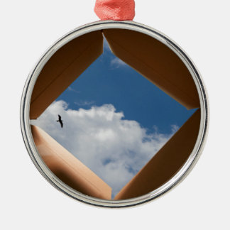 Think Outside The Box Cardboard Concept.jpg Metal Ornament