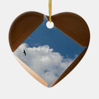 Think Outside The Box Cardboard Concept.jpg Double-Sided Heart Ceramic Christmas Ornament