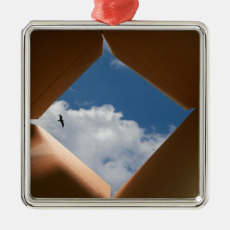 Think Outside The Box Cardboard Concept.jpg Square Metal Christmas Ornament