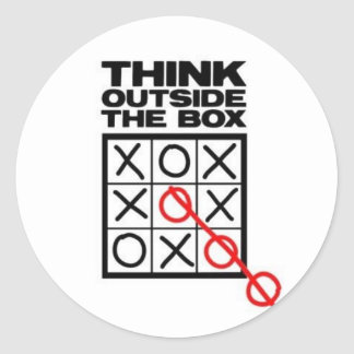 think-outside-the-box classic round sticker