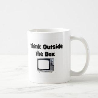 Think outside the box classic white coffee mug