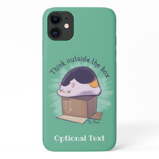 Think Outside the Box Funny Cat iPhone 11 Case