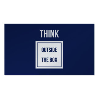 Think outside the box navy platinum Double-Sided standard business cards (Pack of 100)