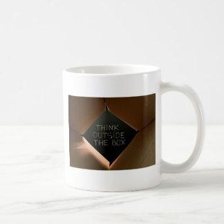 Think Outside The Box on Blackboard.jpg Classic White Coffee Mug