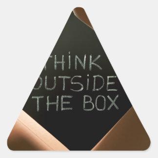 Think Outside The Box on Blackboard.jpg Triangle Sticker