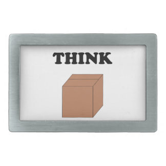 """Think Outside the Box"" Rectangular Belt Buckle"