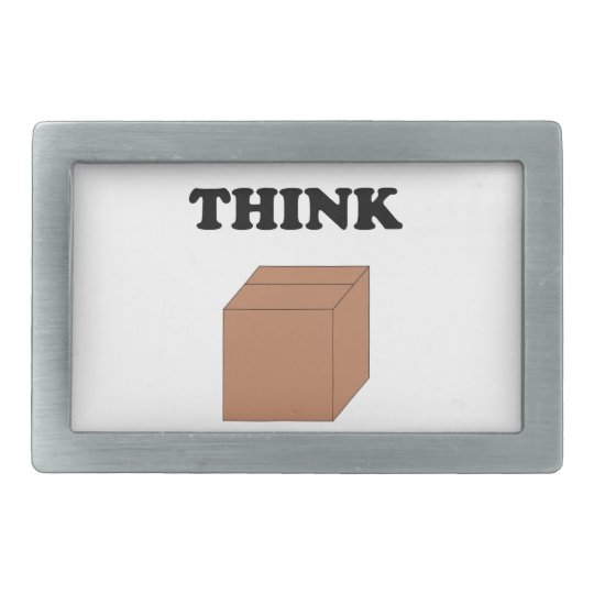"""Think Outside the Box"" Rectangular Belt Buckle"