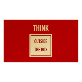 Think outside the box red gold Double-Sided standard business cards (Pack of 100)