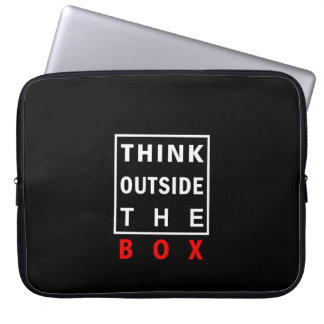 think outside the box red smart text quote clever laptop sleeve