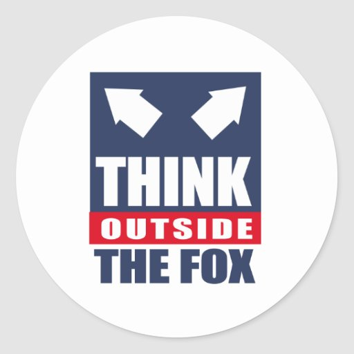 Think outside the fox round stickers
