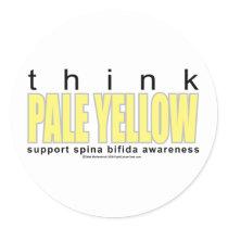 think PALE YELLOW Spina Bifida Classic Round Sticker