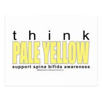 think PALE YELLOW Spina Bifida Postcard