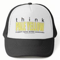think PALE YELLOW Spina Bifida Trucker Hat