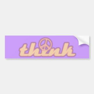 Think Peace Bumper Sticker Car Bumper Sticker