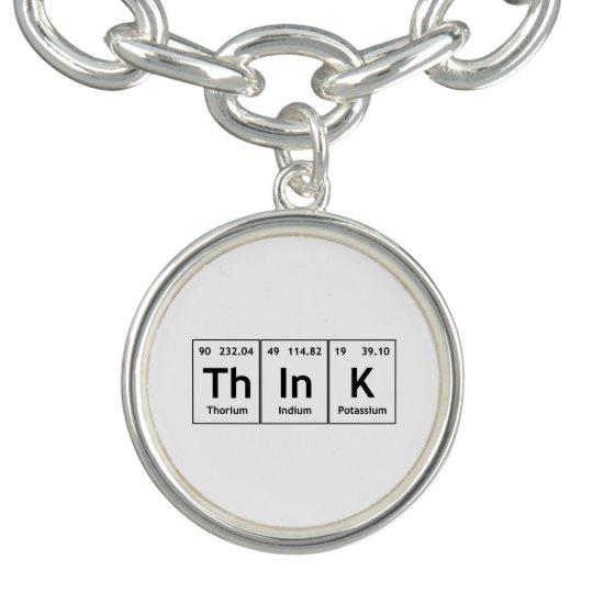Think Periodic Table Element Word Chemistry Symbol Charm Bracelet