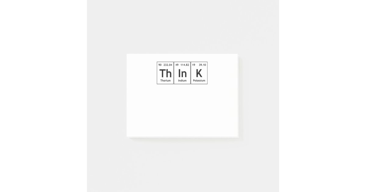 Think Periodic Table Element Word Chemistry Symbol Post It Notes