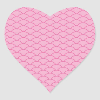 Think Pink Japanese Wave Pattern PT 5 Heart Sticker
