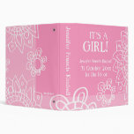 Think Pink White Its A Girl Newborn Baby Flowers Binders
