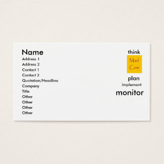 think,plan,implement,monitor. business card