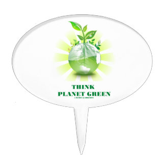 Think Planet Green (Green Leaves Planet Earth) Cake Pick