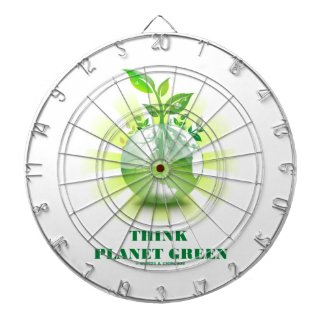 Think Planet Green (Green Leaves Planet Earth) Dartboard