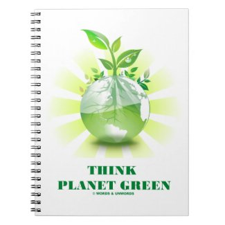 Think Planet Green (Green Leaves Planet Earth) Spiral Notebook