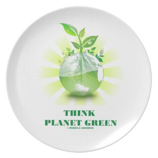 Think Planet Green (Green Leaves Planet Earth) Plates