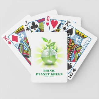 Think Planet Green (Green Leaves Planet Earth) Bicycle Card Deck