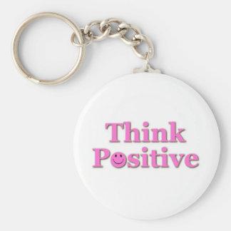Think Positive Basic Round Button Keychain