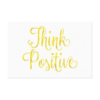 Think Positive Gold Faux Foil Inspirational Canvas Print