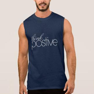 Think Positive Men's Cotton Sleeveless T-Shirt