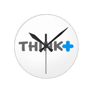 Think Positive Slogan Round Clock