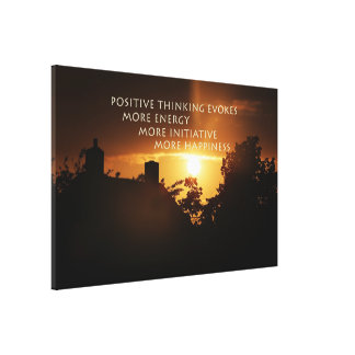 Think positive stretched canvas print