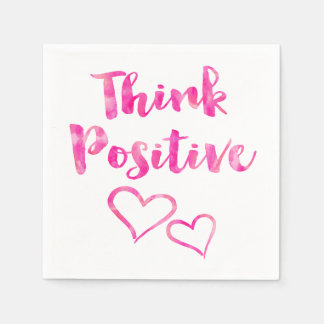 Think Positive Watercolor Quote Napkin
