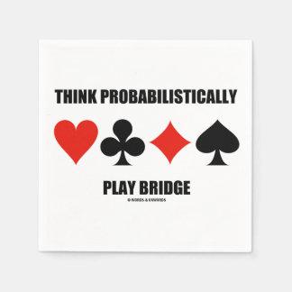 Think Probabilistically Play Bridge (Card Suits) Disposable Napkins