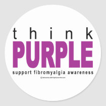 think PURPLE Fibromyalgia Classic Round Sticker