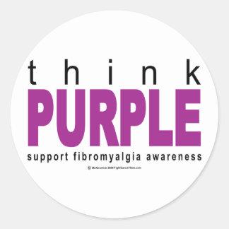 think PURPLE Fibromyalgia Round Stickers