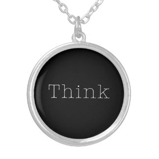 Think Quotes Inspirational Thought Quote Silver Plated Necklace