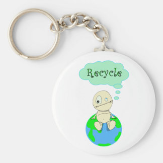 Think...Recycle Basic Round Button Keychain