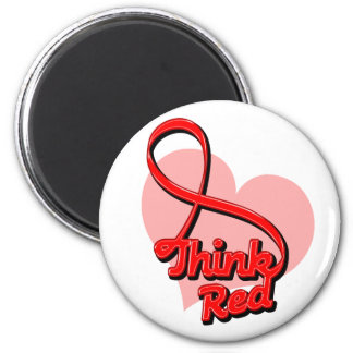 Think Red Stroke Disease 2 Inch Round Magnet
