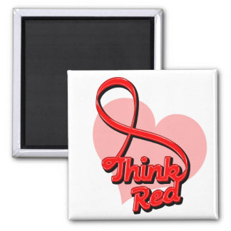 Think Red Stroke Disease 2 Inch Square Magnet