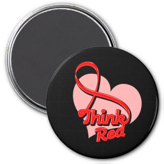 Think Red Stroke Disease 3 Inch Round Magnet