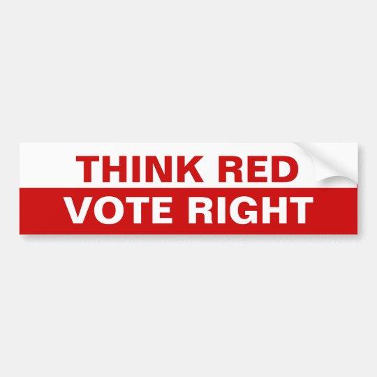 Think Red Vote Right Bumper Sticker