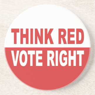 Think Red Vote Right Coaster
