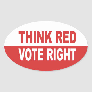 Think Red Vote Right Oval Sticker