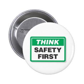 THINK SAFETY FIRST 2 INCH ROUND BUTTON