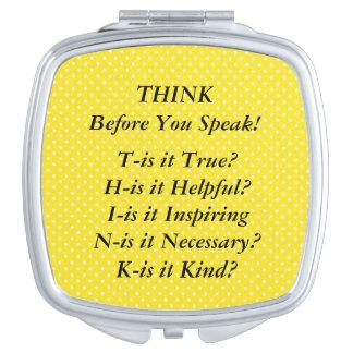 THINK Saying Yellow Swiss Polka Dot Compact Mirror