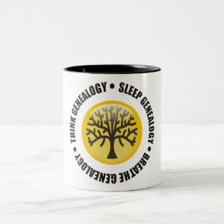 Think Sleep Breathe Genealogy Two-Tone Coffee Mug