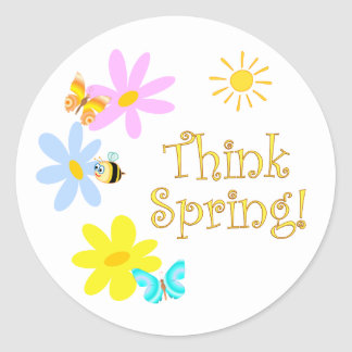 Think Spring Classic Round Sticker
