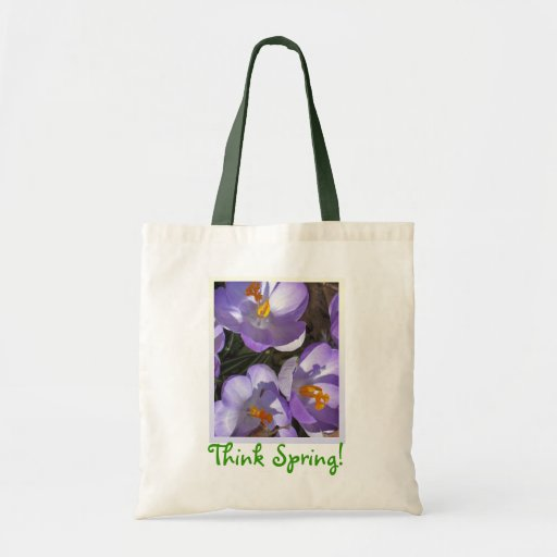 Think Spring crocus tote Canvas Bags